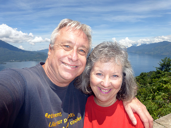 In Godinez, Guatemala with Lake Atitlan in the background