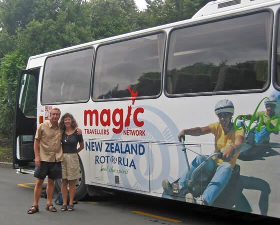 Billy and Akaisha traveling on the Magic Bus