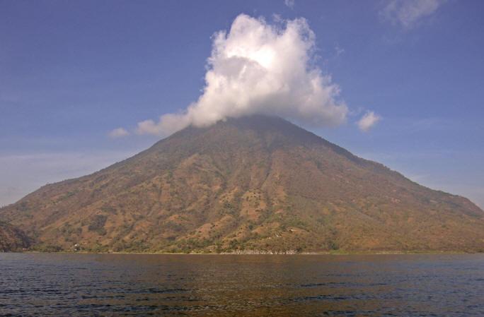Volcano San Pedro is one of three that surrounds Beautiful Lake Atitlan
