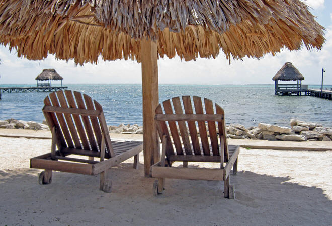 Where the Toneys live. Beach chairs with ocean view in Belize