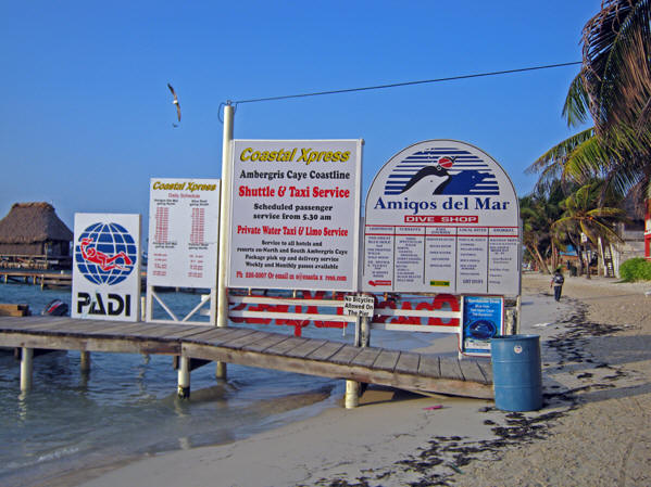 Advertisements of beach, tour, diving and snorkeling activities.  Belize