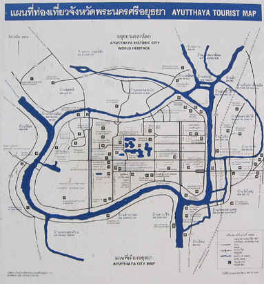 Map of the island city of Ayutthaya, Thailand