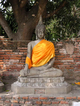 Buddha in the pose of receiving Enlightenment, The Earth as a Witness. Ayutthaya, Thailand