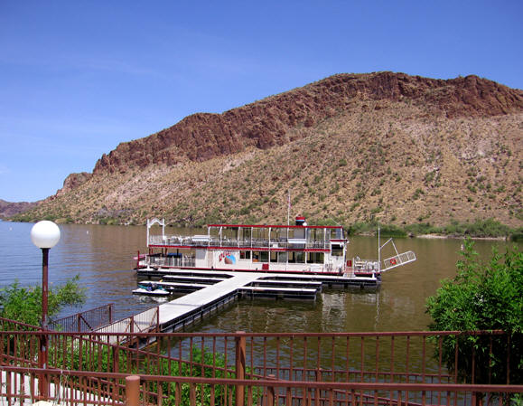 the Dolly Steamboat is a replica of a Sternwheeler paddleboat and weighs 40 tons! Canyon Lake, AZ