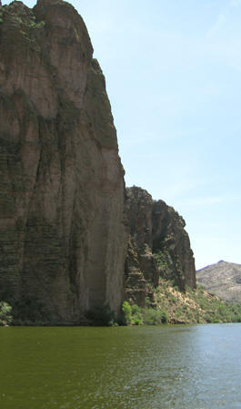 Steep mountains rise up from the lake, Canyon Lake, AZ