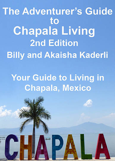 Photo of Chapala Guide book cover with CHAPALA sign and Lake Chapala behind it