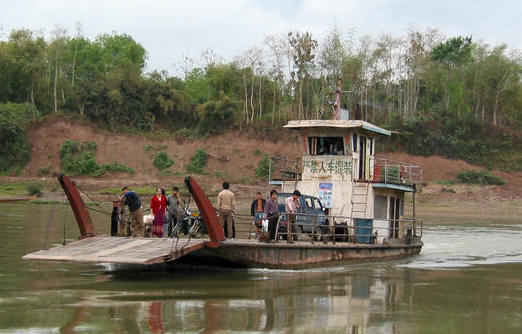 OUR FERRY, CROSSING THE MEKONG RIVER