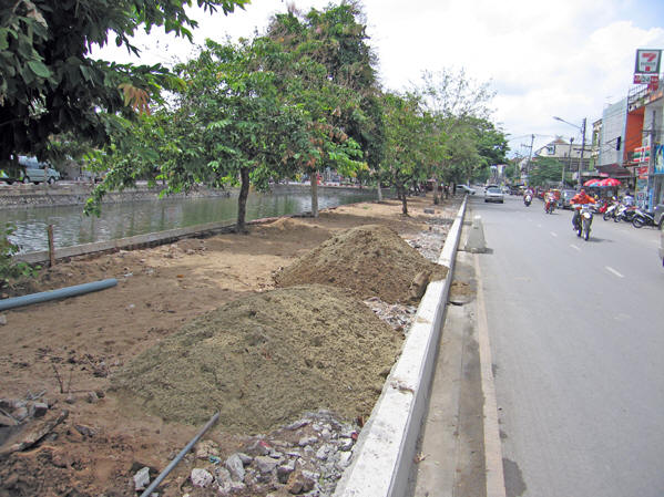 Sidewalks are ripped up, ready to be replaced, Chiang Mai, Thailand