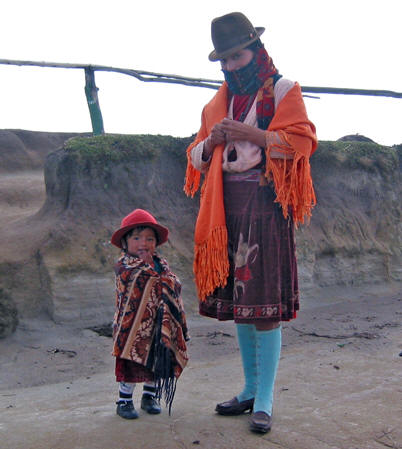 NATIVE MOTHER AND DAUGHTER, LAKE QUILOTOA