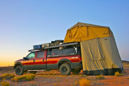 On the road with a vehicle tent