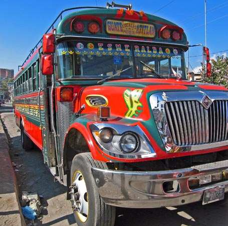 Our ride! The famous Chicken buses in Guatemala