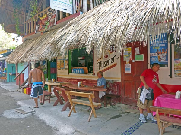 A palapa topped restaurant