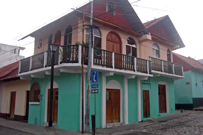 Brightly painted buildings are found all over Flores