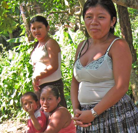 Maya girls living in their jungle village