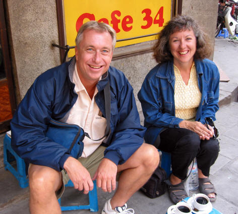 Billy and Akaisha Sipping Coffee in Hanoi, Vietnam