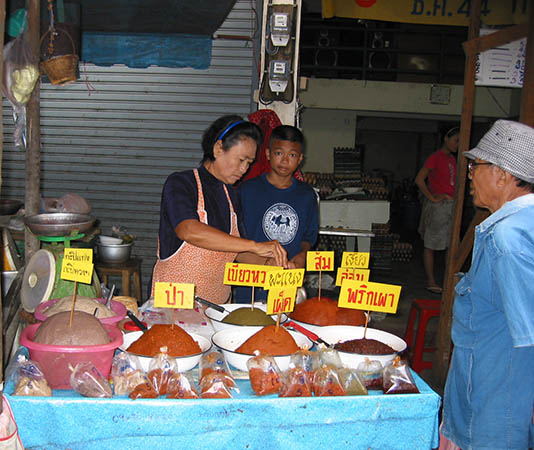 Curry pastes and shrimp paste are available already made in the Thai markets
