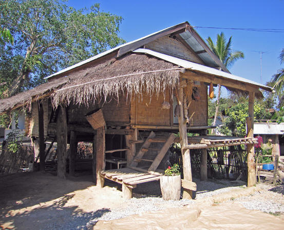 This is a typical village wooden hut or house.