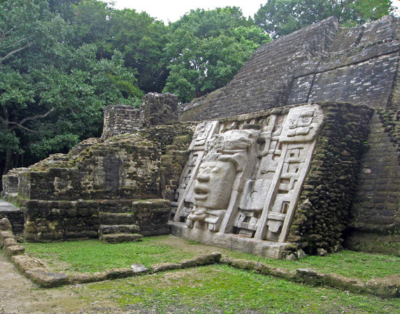 Another view of the stone mask at the Lamanai ruins, Belize