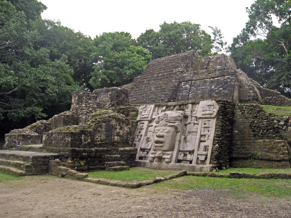 the Mask Temple with a pyramid behind it. Lamanai ruins, Belize
