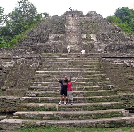 Akaisha and Billy in front of the High Temple. Lamanai, Belize