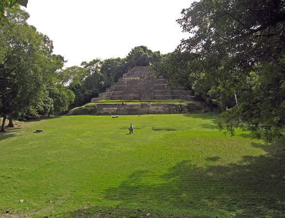 Lovely wide view of an area between a Maya neighborhood and a temple. Lamanai, Belize