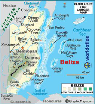 Lamanai is located in north central Belize