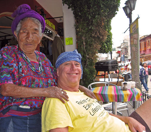 A Mayan woman and Billy pose for a photo in Panajachel, Guatemala