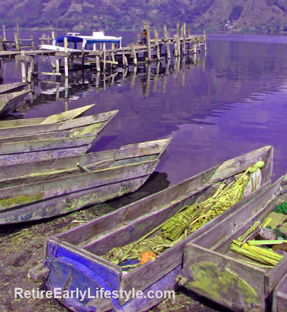 Boats on the shore of Lake Atitlan, Guatemala