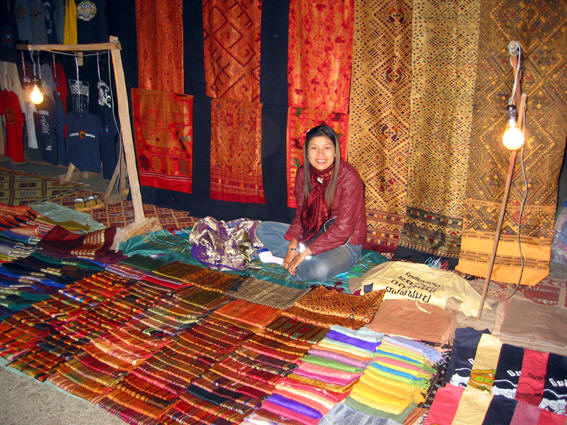 BEAUTIFUL LAOS TEXTILES AT NIGHT MARKET