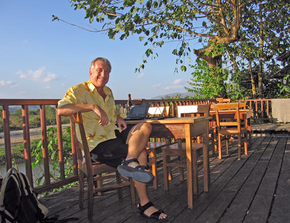 Relaxing on the deck overlooking the Mae Yuam River