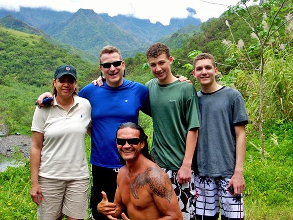 Lynn, Steve, Ryan and Cameron in Tahiti with their Tahitian Guide
