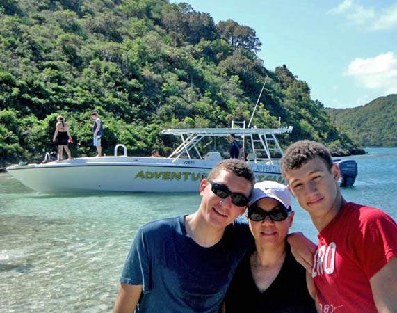 Our boys and Lynn in Antigua, Caribbean Islands