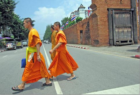 Monks at Thapae Gate Crossing
