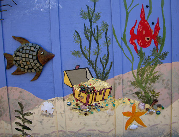 Treasure chest with real gold leaf, colorful fish and sea ferns. Santa Cruz, California