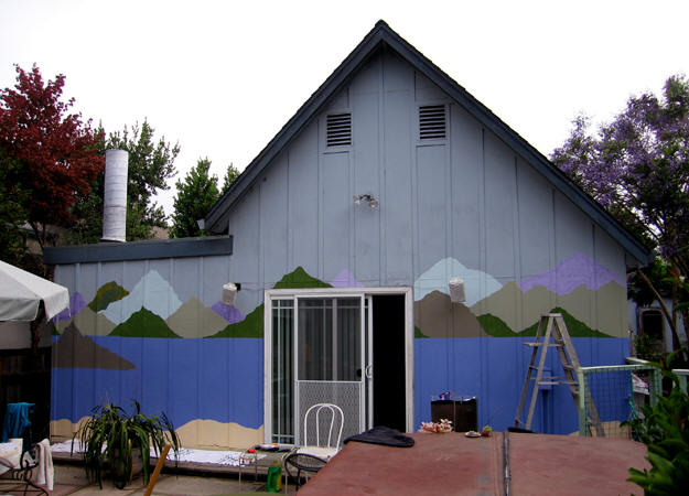 The back wall with the beginnings of a fantasy seaside village. Santa Cruz, California