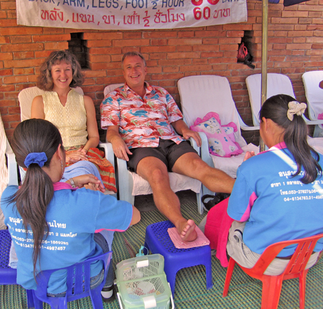 Akaisha and Billy getting foot massages in Chiang Mai, Thailand