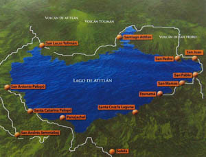 Map of Lake Atitlan, with towns marked