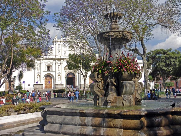 Plaza of Antigua, Guatemala with cathedral in the background