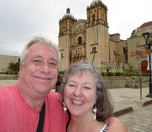 Billy and Akaisha in front of Santo Domingo Cathedral, Oaxaca, Mexico