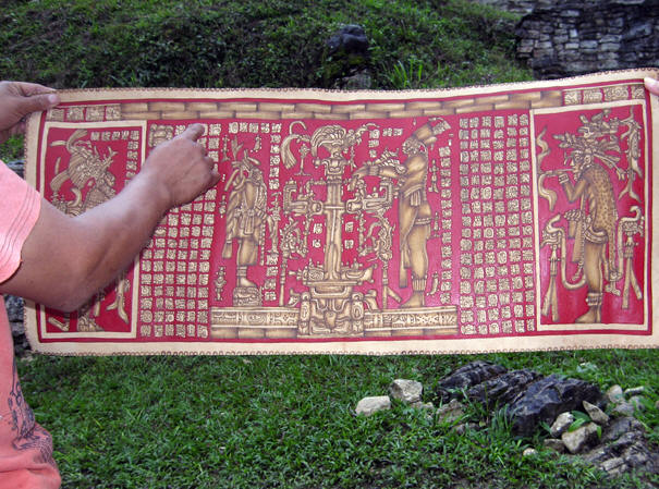 Maya calendar painted Maya Red on a piece of leather