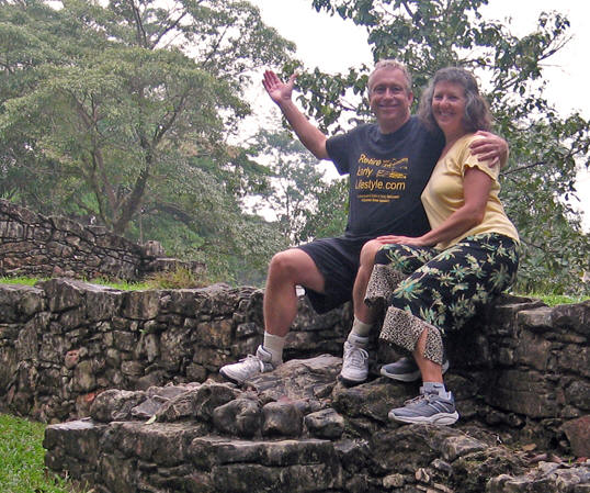 Here we are, sitting on centuries-old Maya walls