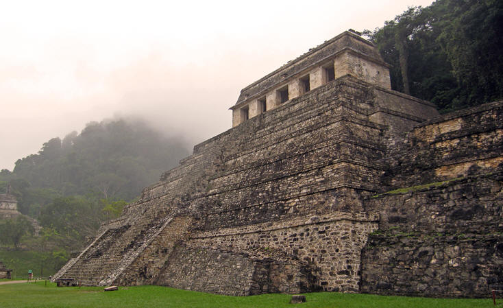 Maya would paint their buildings deep red, dark blue and brilliant yellow. Can you imagine?