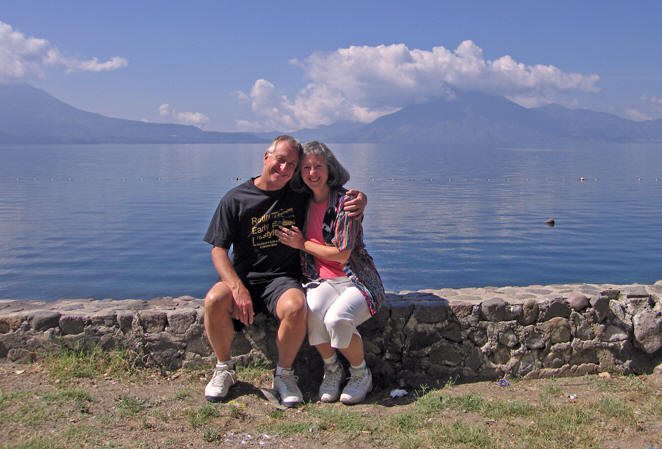 Billy and Akaisha on the shores of Lake Atitlan