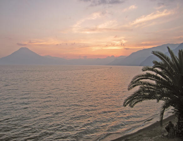 Magnificent sunset over mystical Lake Atitlan.