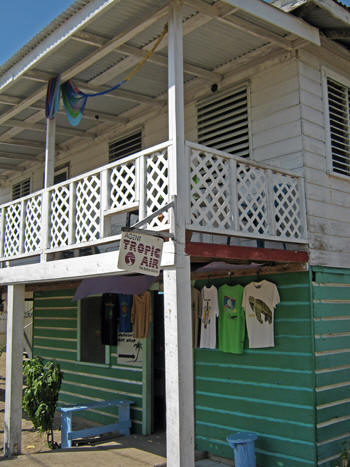 Airline ticket house and tee shirt store. Placencia, Belize