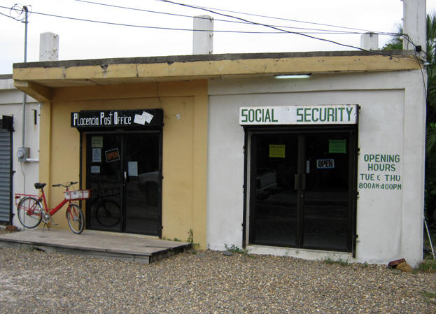 Placencia's Post Office and Social Security building. Belize