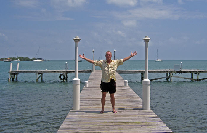 The ocean is the life in Belize.  Billy standing on the dock in Placencia