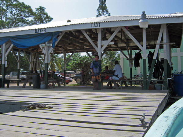 Dockside at the Hokey Pokey Water Taxi. Belize