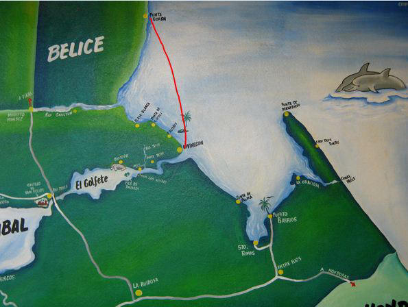 Painted map of the Livingston area, Guatemala to Belize