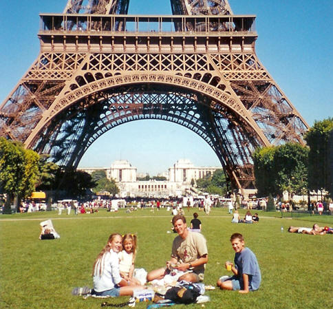 Family Picnic at the Eiffel Tower in France